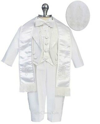New Baby Toddler Boys White Baptism Suit Christening Outfit Virgin Mary 170F