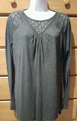 NWT LIZ LANGE MATERNITY Dark Green Tunic Top Long Sleeve Lace Cotton Shirt S
