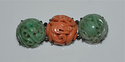 Antique Chinese Carved Coral and Jadeite Jade Dragon Silver Pin Brooch