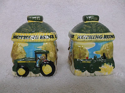 """Nothing Runs Like a Deere"" - Gibson John Deere Salt and Pepper Set"