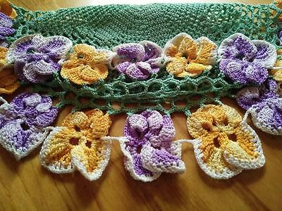 "Vintage Hand Crochet Purple & Gold Raised Pansies/Green star middle ~Centre 12""D"