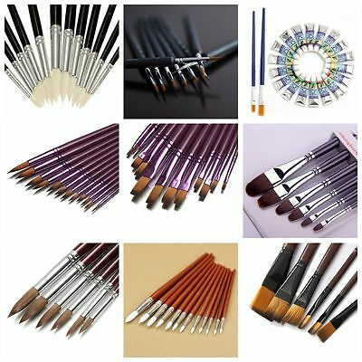 Artist Pen Acrylic Oil Paint Brush Watercolor Sketched Line Set Drawing Painting