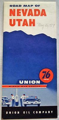 UNION 76 SERVICE STATION NEVADA & UTAH AUTOMOBILE HIGHWAY ROAD MAP 1950s VINTAGE
