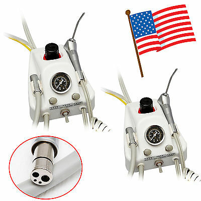 USA ! 2PCS Dental Air Turbine Unit Portable 4 Hole Work with Air Compressor