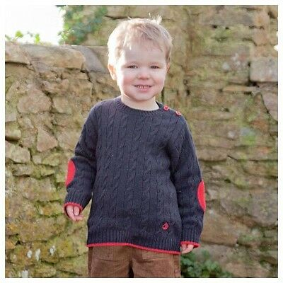 NEW JoJo Maman Bebe Baby Boys' Cable Knit Lambswool Sweater Navy 4 5 Kids (C)
