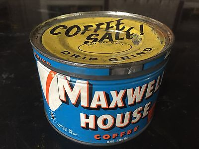 Vintage Maxwell House Coffee Tin Can One Pound Advertising Rare Sales Lid