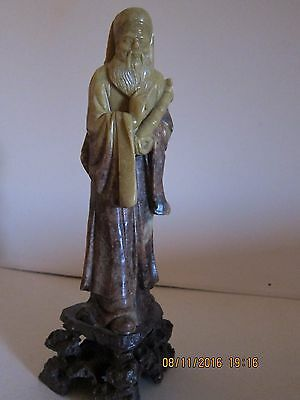 Vintage Chinese soapstone carving of an elder 10 inchest tall