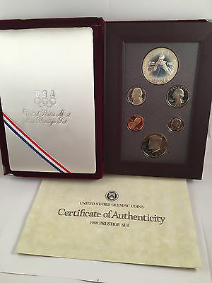 1988 US Olympic Coins Prestige Set with COA with silver dollar