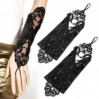 Women's Colorful Fingerless Lace Sequined Wedding Dress Gloves Bridal Accessory