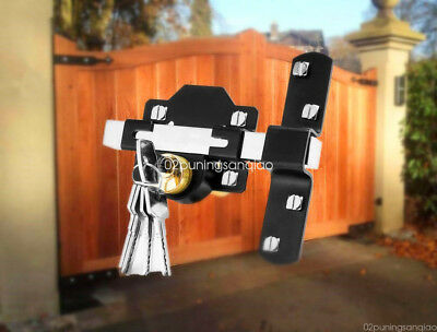 Concise Home 50mm Double Long Throw Gate Lock Garden Locking Both Sides 5 Keys