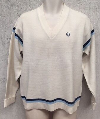 VINTAGE WHITE w BLUE STRIP FRED PERRY SPORTSWARE RETRO V-NECK KNIT JUMPER SIZE L