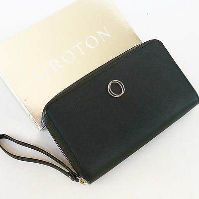 RRP$295 New OROTON Metier Large Multi Zip Around Wallet Clutch Black Leather