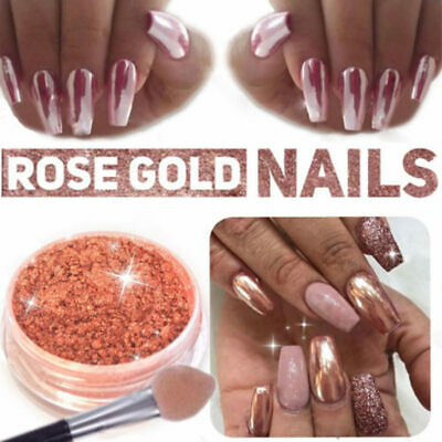 ROSE GOLD NAIL POWDER DUST Mirror Chrome Mermaid Effect Pigment Nail Art + Brush