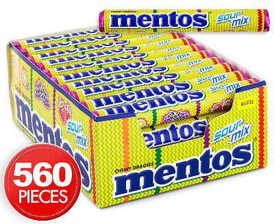 40 x Mentos Roll Sour Mix Fruit Chews 37.5g