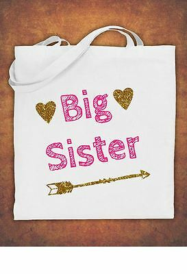 Big Sister Birthday Present Gift baby  kids Tote Bag children's  Cotton  - White