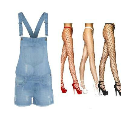Acid Wash Light Denim Frayed Dungarees Ladies Free Fish Net Diamond Tights With