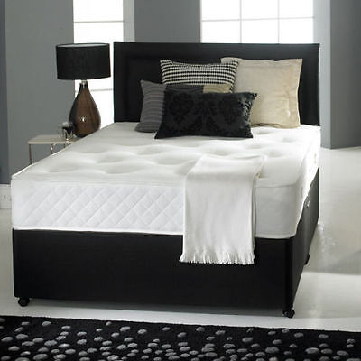 LEATHER/SUEDE DIVAN BED SET + MEMORY MATTRESS + HEADBOARD 3FT 4FT 4FT6 Double5FT