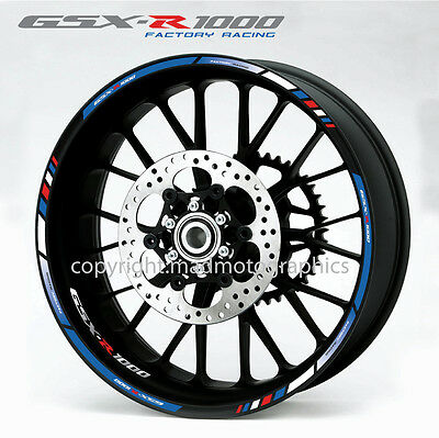 Suzuki GSX-R 1000 wheel decals stickers set gsxr1000 rim stripes gsxr Laminated