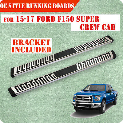"""For 15-17 Ford F150 Super Crew Cab 6"""" Running Board Nerf Bar Side Step S/S FN"""