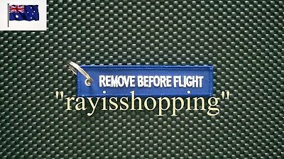 BLUE Remove Before Flight Woven Embroidered Keychain Keyring Chain Ring Cool