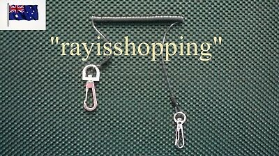 Spring Stainless Wire Core Fishing Kayak Lanyard Flexible Tool Clips Heavy Duty
