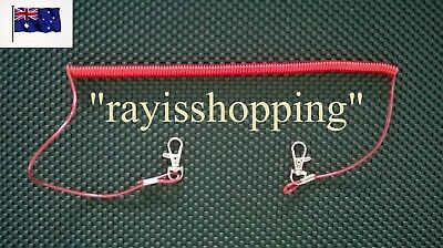 Spring Stainless Wire Core RED Fishing Kayak Lanyard Boat Flexible Tool Clips