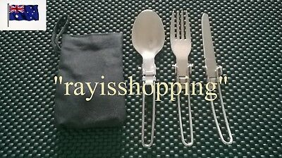 Folding Cutlery with Carry Pouch Fork Knife Spoon Stainless Steel Camping Hiking