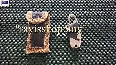 Folding Knife Black Handle with Pouch, Carabiner Clip Stainless Steel Camping