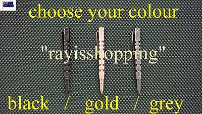 1 x Tactical Pen with Holes Tough Tungsten Steel Glass Breaker Black Ink Colour
