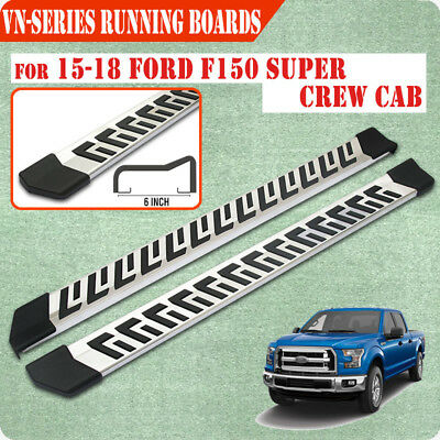 """Fit 15-17 Ford F150 Super Crew Cab 6"""" Running Board Nerf Bar Side Step S/S"""
