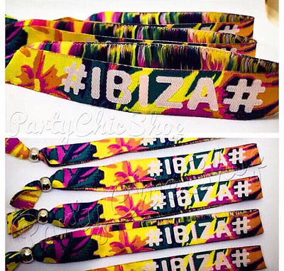 '#IBIZA# BEACH PLEASE' Unisex Festival Fabric Wristbands Party Trip Event Summer