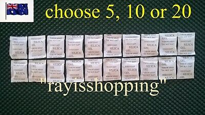 Choose 5, 10 or 20 Silica Gel Desiccant Packets, Moisture Absorber Sachet