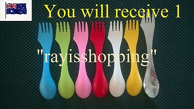 1 x Cutlery Fork Knife Spoon Spork, Plastic or Stainless Steel Camping Hiking