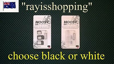 BLACK or WHITE, 3 in 1 NOOSY Nano Micro Sim Adapter Cool, iPhone Nokia Samsung