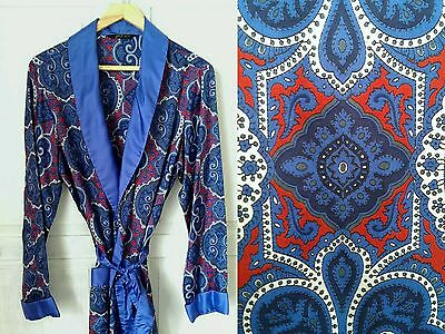 Vintage 1970s 1960s St Michael red blue Smoking Jacket Dressing Gown Medium