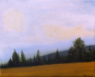 plein air impresssionist landscape oil painting mountains field sky by hannon