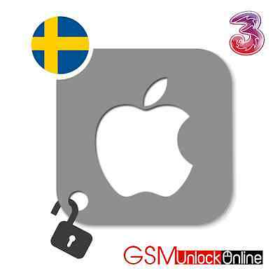 Factory Unlocking Service For 3 Hutchison Sweden iPhone 4 4S 5 5S 5C 6 6+ 6S 6S+
