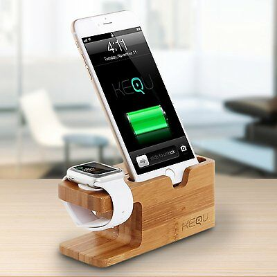 Kequ Wooden Charging Stand Cradle Station Dock for Apple Watch and iPhone 6 6s 5