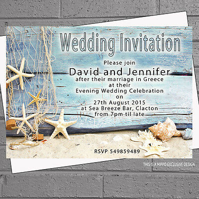 Beach Wedding Evening Day Starfish Shells Drift Wood Invites x 12 with env H1564