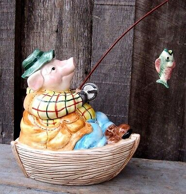 Vintage Fishing Pig Trinket / Candy Dish Home & Garden Bed Bath Vanity Kitchen