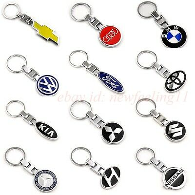 Auto Metal Key Chain Car Double Side Logo Pendant Keyfob Holder Keyring with Box