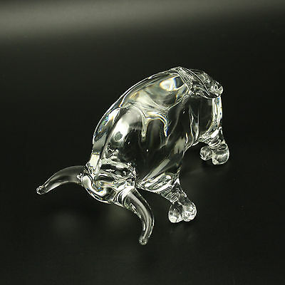Faberge Clear Crystal Glass Bull Hand-Formed Figurine