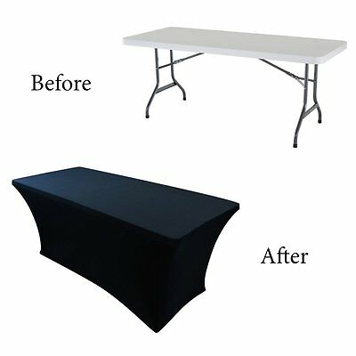 Fitted Tablecloth Cover 6ft Table Cloth Skirt Rectangular Polyester Stretchable