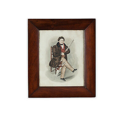 Naive Regency Watercolour Portrait of Gentleman and Small Dog in Mahogany Frame.