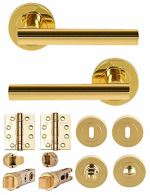 SULTAN Polished Brass Lever on Rose Door Handles Accessories/ Latches/ Hinges/WC