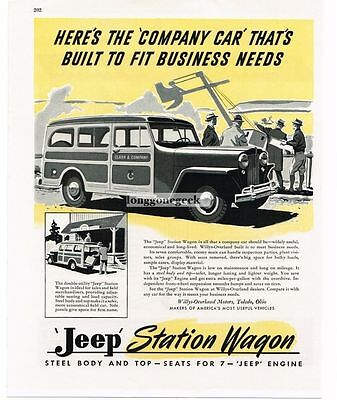 1946 Willys-Overland Jeep Station Wagon Woody Woodie art Vtg Print Ad