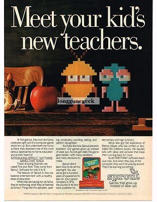 1984 Mindscape Sprout Teaching Software Tink Tonk Apple Vtg Print Ad