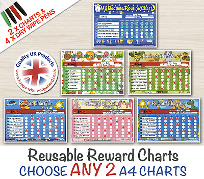 ANY 2 Reward Charts Reusable Toddler Kids Child Children Behaviour Dry Wipe