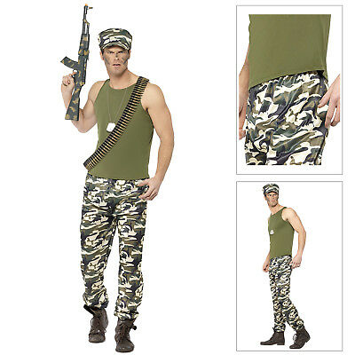 Smiffys Mens Army Soldier Fancy Dress Costume Military Forces Camouflage Outfit