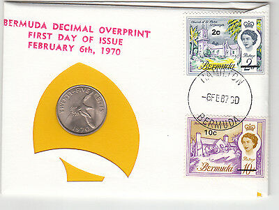 1970 Bermuda First Day Issue 99 Company 25 cent coin plus stamps
